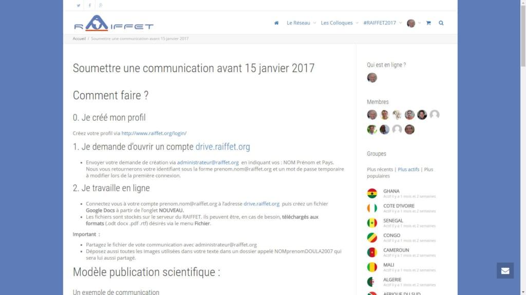 5ème colloque International du RAIFFET APPEL à communication avant 1 février 2017